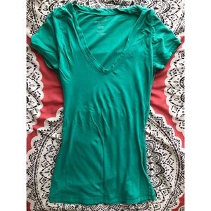 Turquoise V Neck Tee